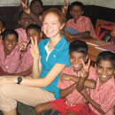 A girl having fun with the children
