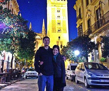 Austin and His Friend in Front of the Giralda.