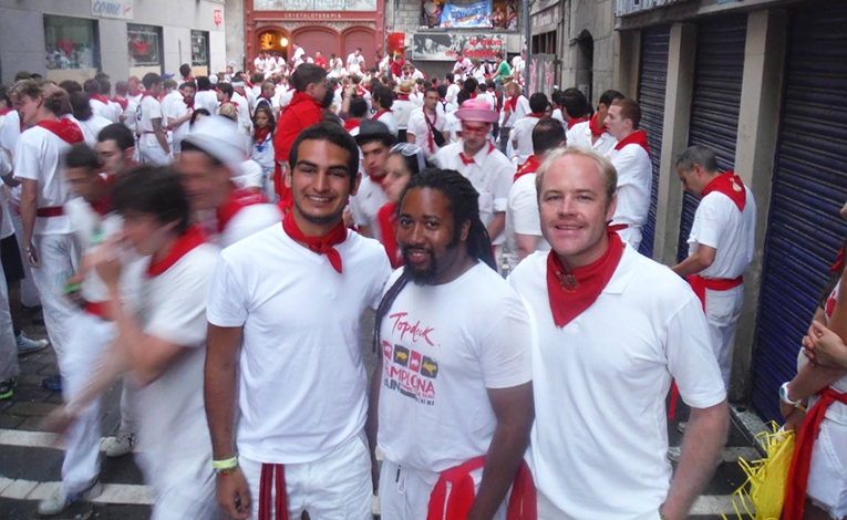 Preparing for the Running of the Bulls in Pamplona, Spain