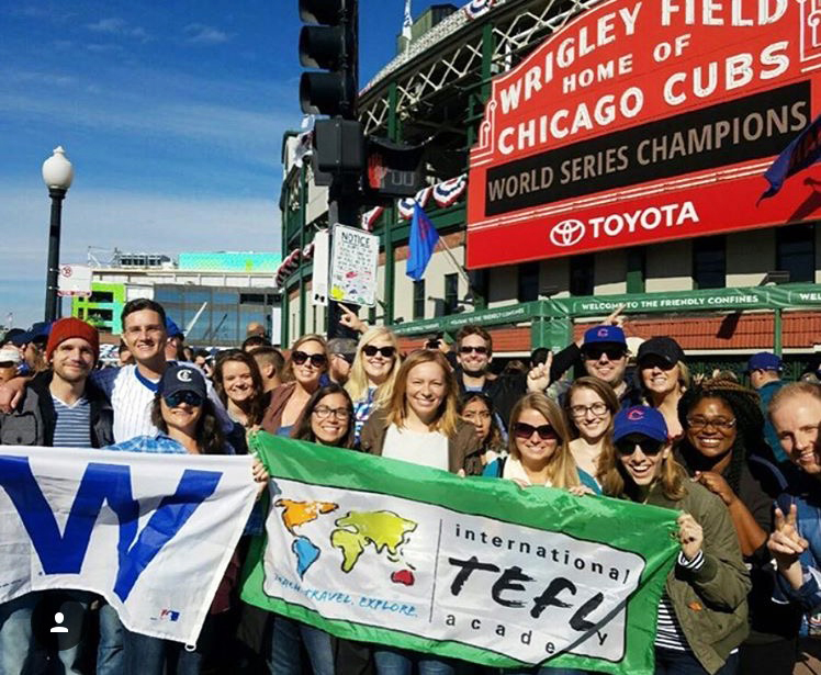 fans celebrate Cubs winning the World Series