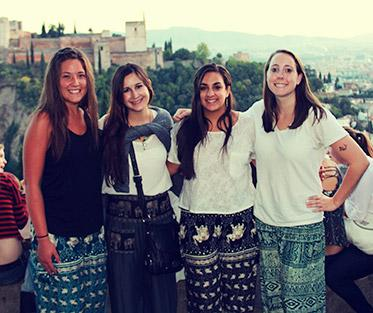 Clare and Her Friends Waiting to Watch the Sunset over the Alhambra in Granada.