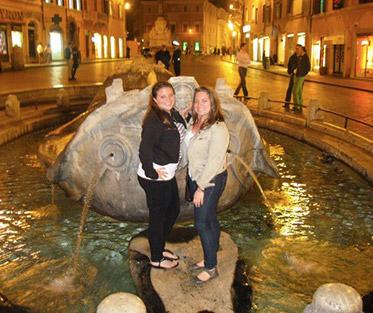 Marianna with her Sister at the Fontana della Barcaccia in Rome.