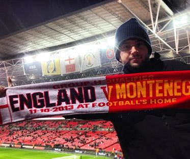 Moe enjoying one of many football games while abroad! England vs. Montenegero at Wembley Stadium in London.