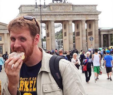 Ben eating a Berliner in Berlin!