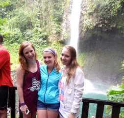 study abroad students at La Fortuna waterfall in Costa Rica