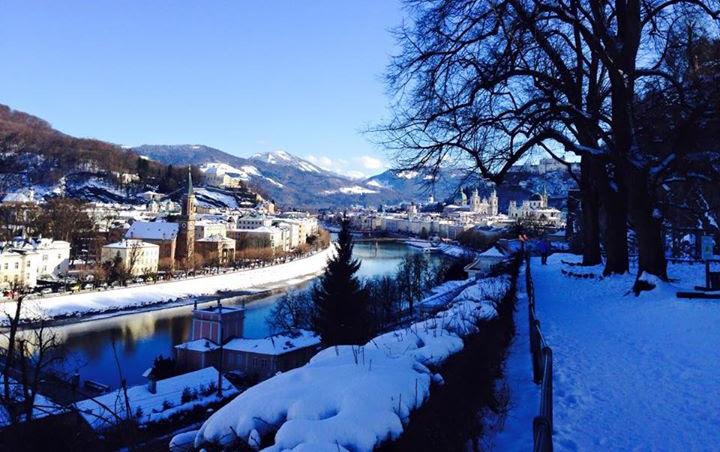 Salzburg, Austria covered in snow