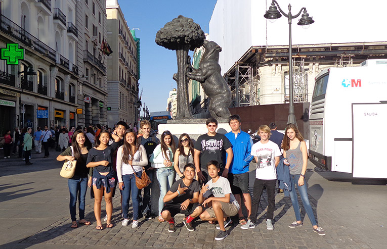 Students at Puerta del Sol in Madrid, Spain