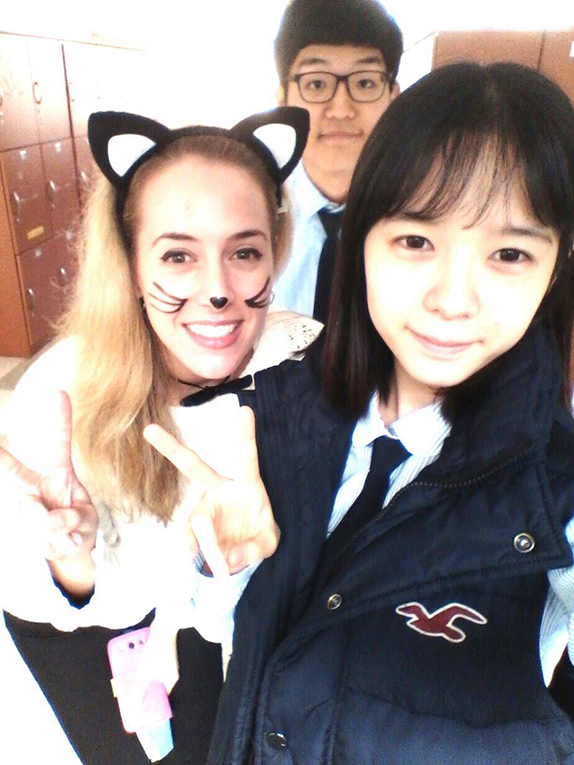 Foreign teacher in South Korea with students on Halloween