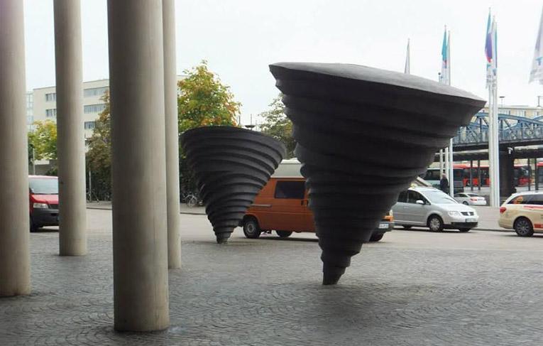 Tornado sculptures by the Konzerthaus