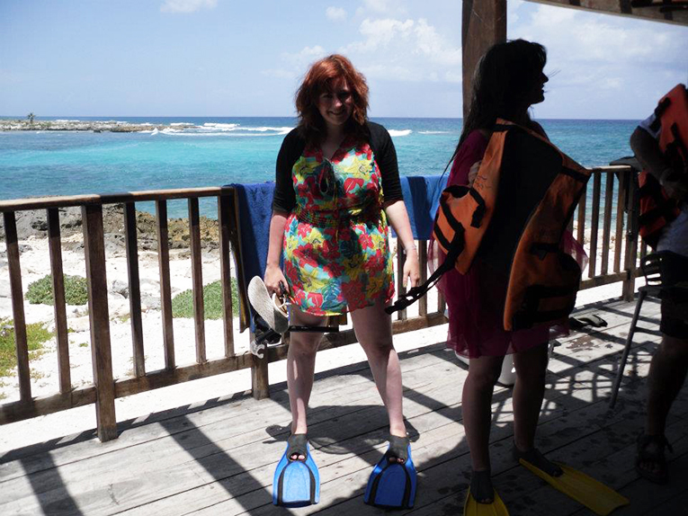 Trying on flippers in the Caribbean