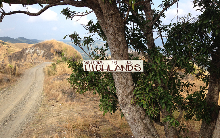 Highlands welcome sign in Fiji