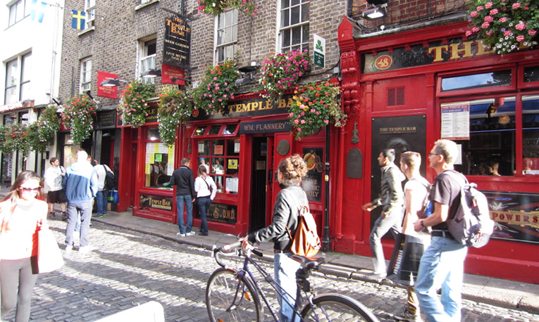 Students in the Temple Bar area in Dublin, Ireland