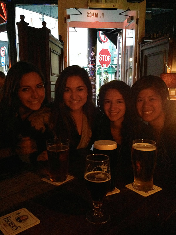 Students at a pub in Dublin, Ireland
