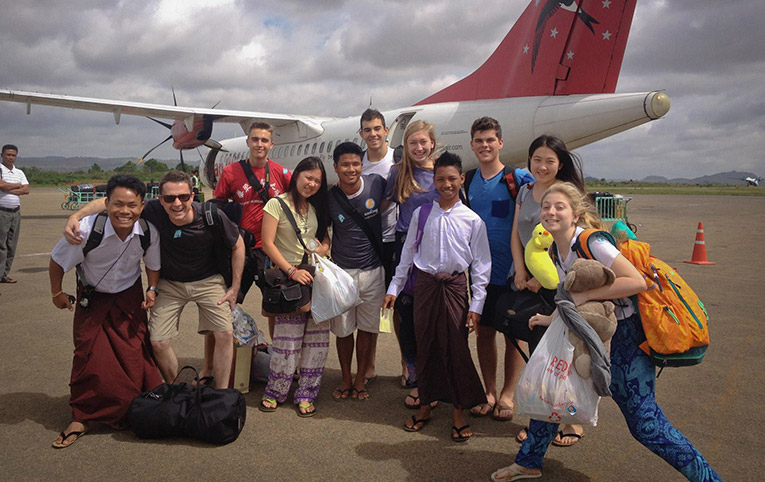 Study abroad students at the airport in Bagan, Myanmar
