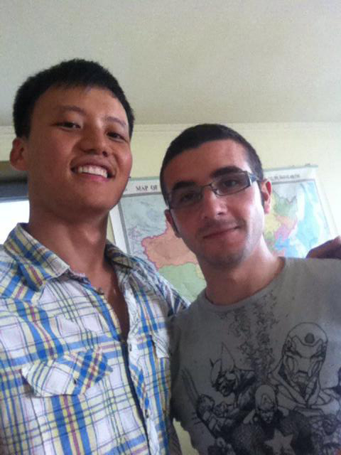 Italian intern with staff member at the Asia Oppo office