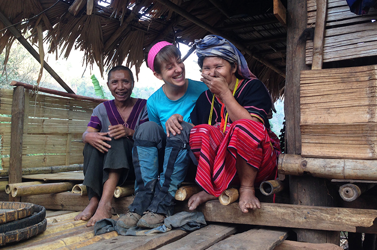 Volunteer with host family in Mae Hong Son, Thailand