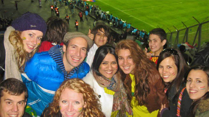 Fans at a futbol game in Argentina