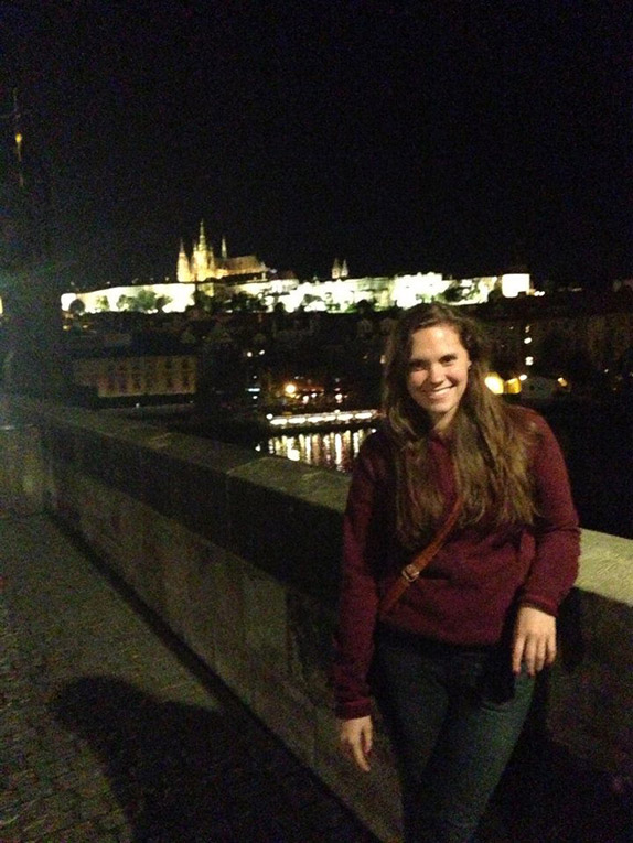 Charles Bridge overlooking the Prague Castle at night