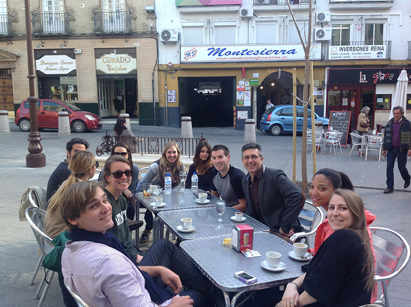Academic Studies Abroad Staff and study abroad students having lunch in Seville, Spain