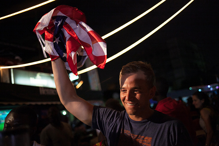 American celebrating U.S. World Cup 2014 victory in Ghana