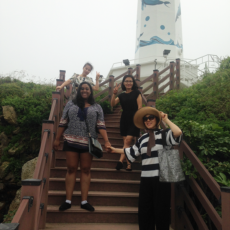 Volunteers on an island in South Korea.
