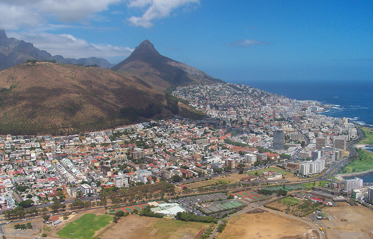 Birds eye view of Cape Town, South Africa