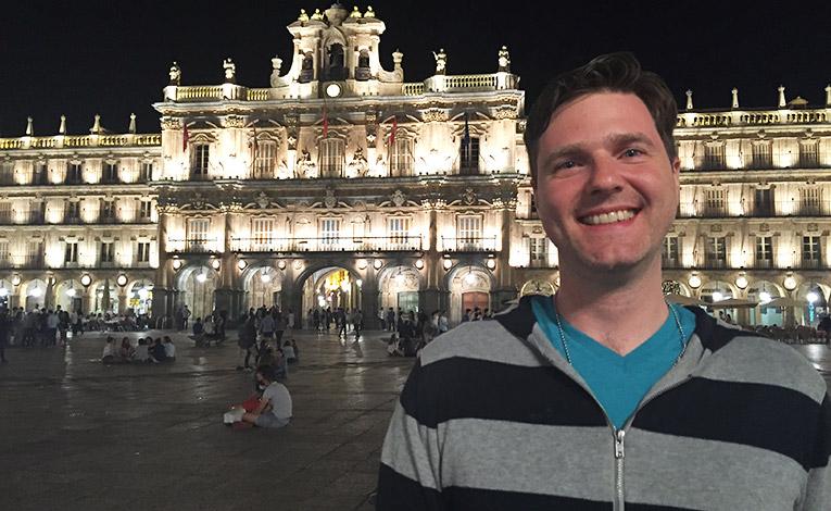 Man standing in Plaza Mayor, Salamanca, Spain