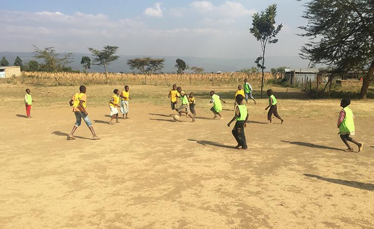 Football game at a school in Kenya