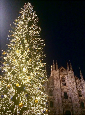 Duomo in Milan, Italy at Christmas time