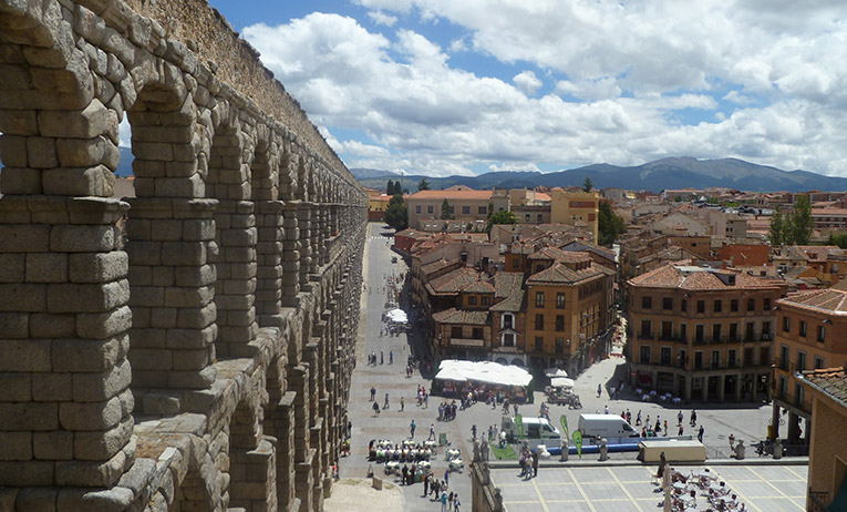 The Roman aqueduct in the city of Segovia
