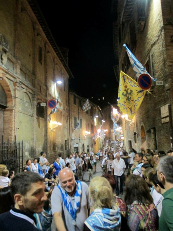 Palio victory celebration in Siena, Italy