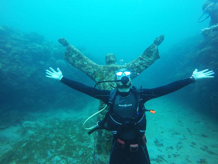 Diver in the sculpture garden in Grenada