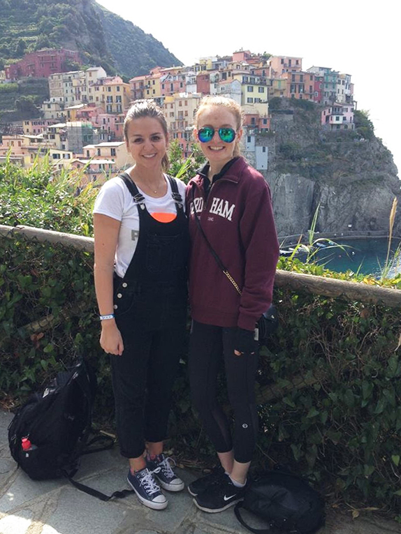 Girls visiting Cinque Terre in Italy