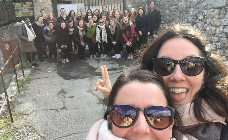 IAU College students and staff on an excursion in southern France