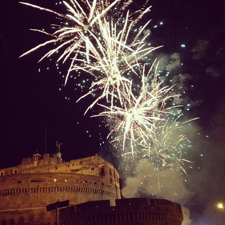 Fireworks over Castel SantAngelo in Italy