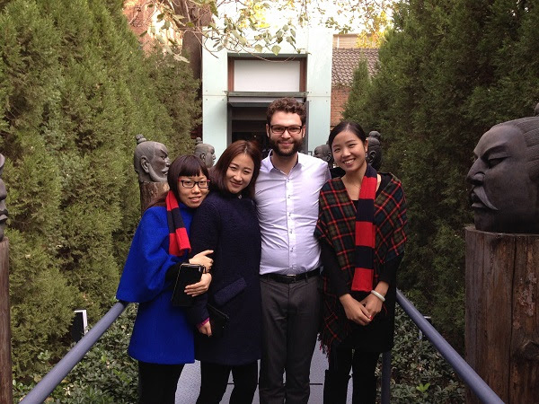 Foreigner with Chinese colleagues in China