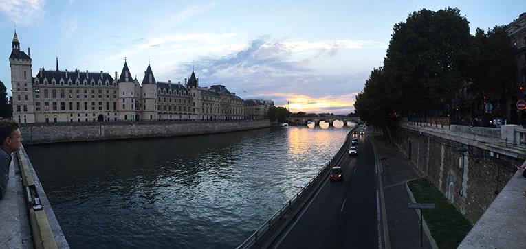 View of La Conciergerie from Quais de la Seine in France