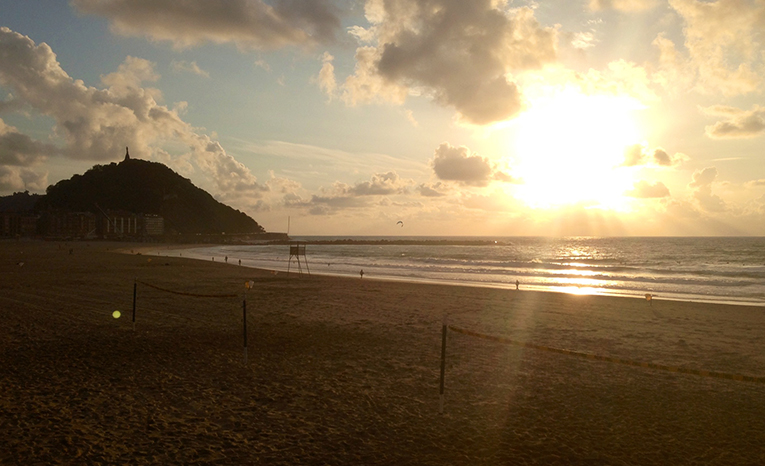 Sunset on the beach in San Sebastian, Spain