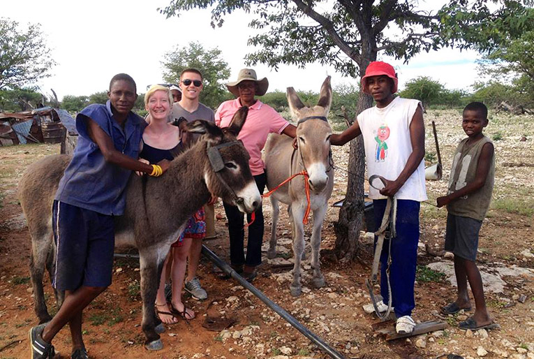 Riding donkeys in Africa