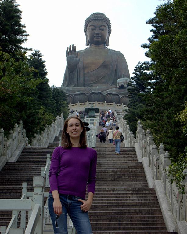 Bronze Buddha statue on Lantau Island outside of Hong Kong