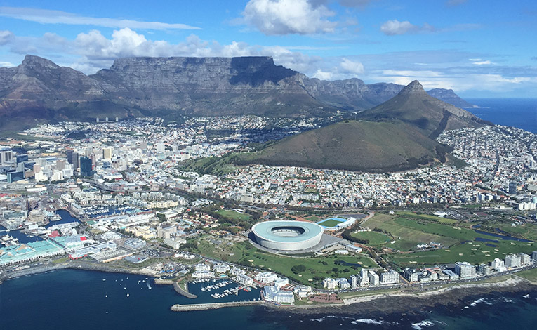 View of Cape Town, South Africa from a helicopter