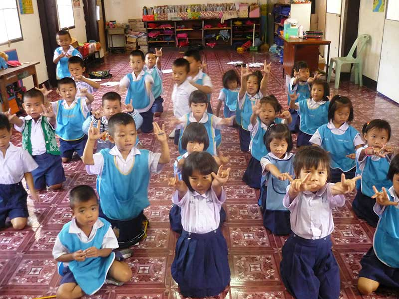 Classroom of students at Lungka School in Thailand