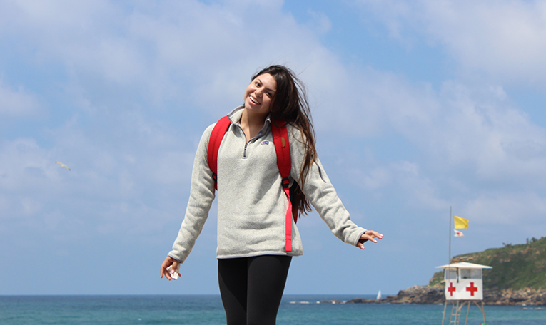 Visiting the beach in San Sebastian, Spain