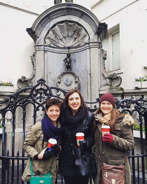 Friends sightseeing in Brussels, Belgium