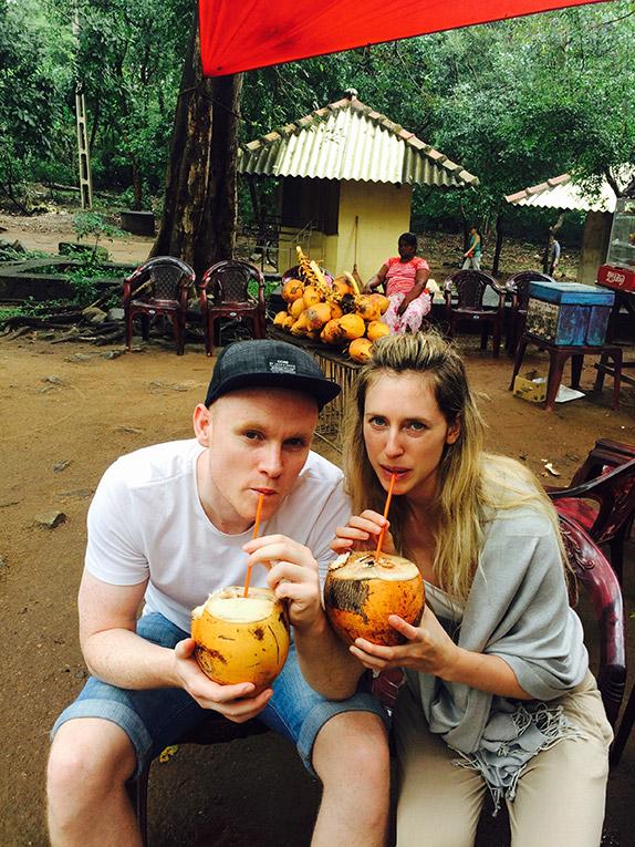 Drinking fresh coconut juice in Northern Sri Lanka