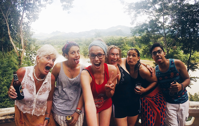 Volunteers in Laos in the mountains