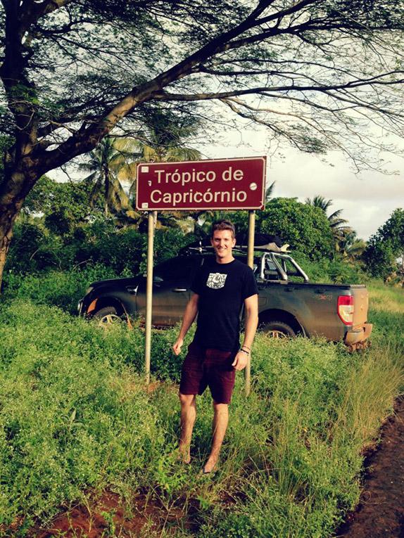 Tropic of Capricorn latitude marker in Mozambique