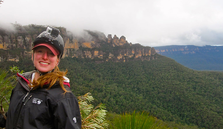Absailing in the Blue Mountains in Australia