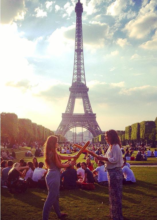 Baguette fighting near the Eiffel Tower in Paris, France