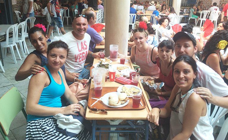 Dining at La Feria in Malaga, Spain